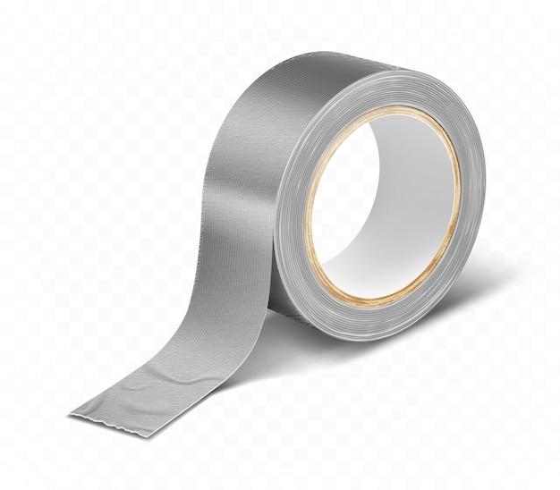 Grijs zilver duct roll plakband realistisch Gratis Vector