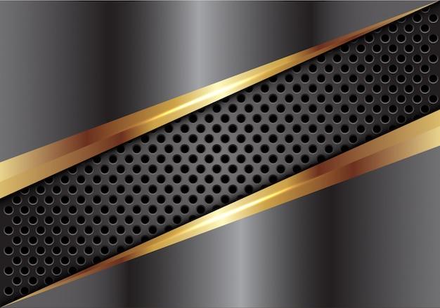 Grijsgouden metalen kap op donkere cirkel mesh achtergrond. Premium Vector