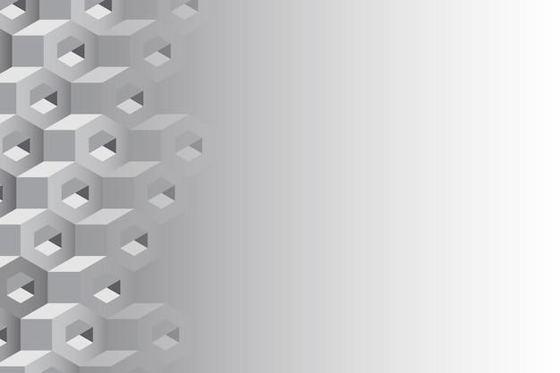 Grijze 3d zeshoekige achtergrond Gratis Vector