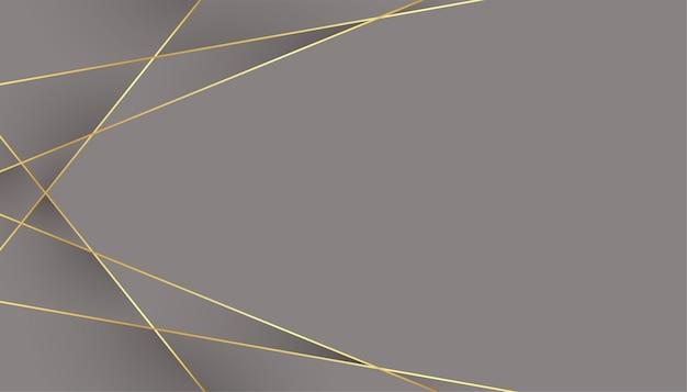 Grijze achtergrond met geometrische laag poly gouden lijnen Gratis Vector