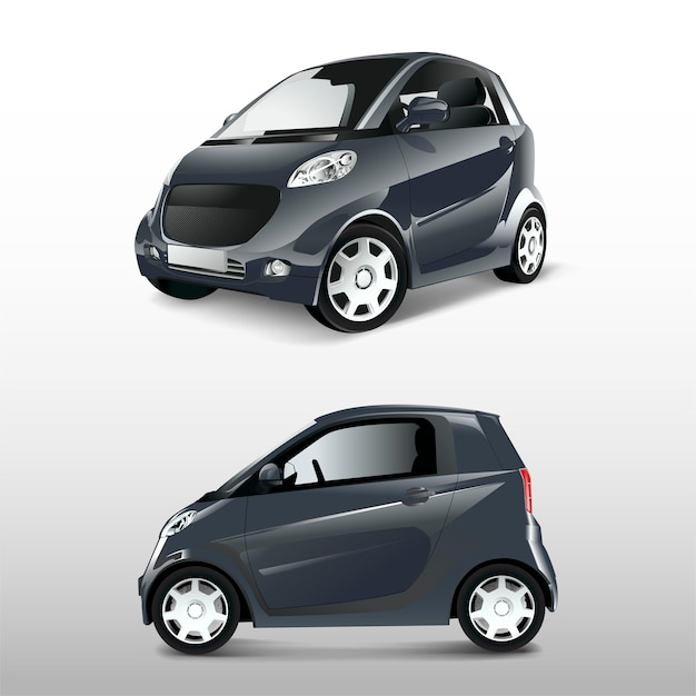 Grijze compacte hybride auto vector Gratis Vector
