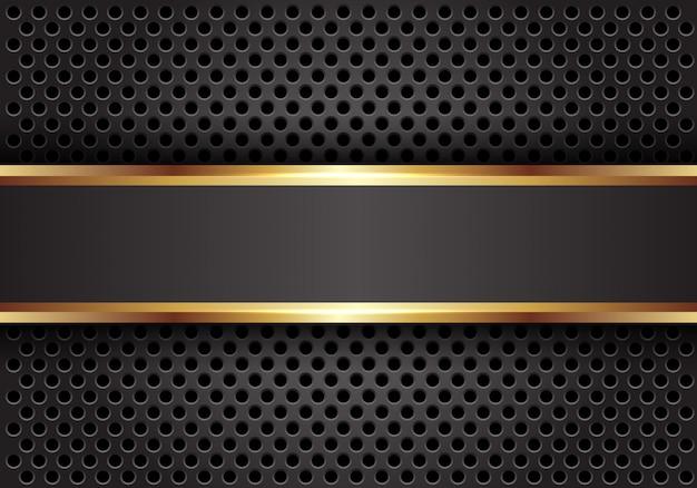 Grijze gouden lijnbanner op de donkere achtergrond van het cirkelnetwerk. Premium Vector