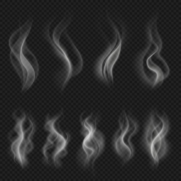 Grijze hete rookwolken. witte transparante stoomverdamping geïsoleerde vectoreffecten. vector motion steam mist, stroom rook effect illustratie Premium Vector