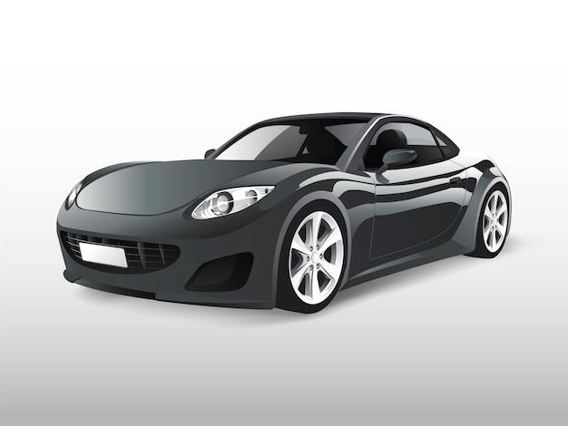 Grijze sportwagen die op witte vector wordt geïsoleerd Gratis Vector