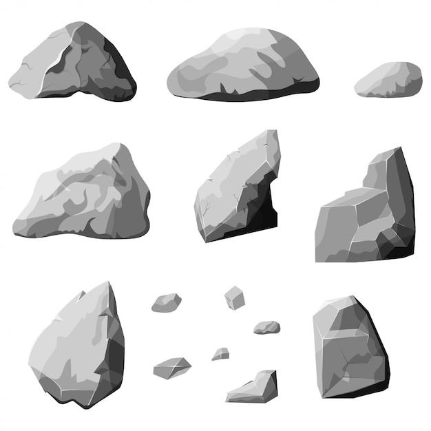 Grijze stenen set Premium Vector
