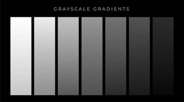 Grijze tinten gradiënten instellen achtergrond Gratis Vector