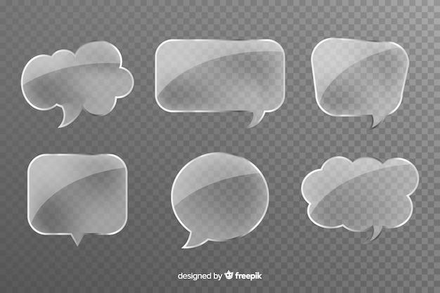 Grijze transparante glazen vormen voor praatjebellen Gratis Vector