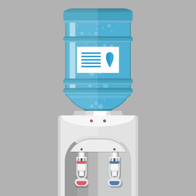 Grijze waterkoeler met blauwe fles Premium Vector