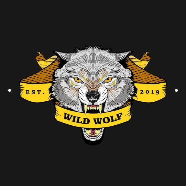 Grijze wolf emblemen met linten in vintage, retro oude stijl, hand getrokken gravure. Premium Vector