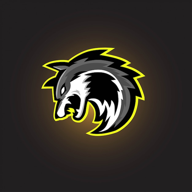 Grijze wolf esport gaming-logo Premium Vector