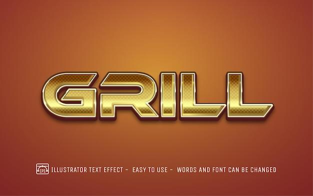 Grill 3d goud - bewerkbare teksteffectstijl Premium Vector