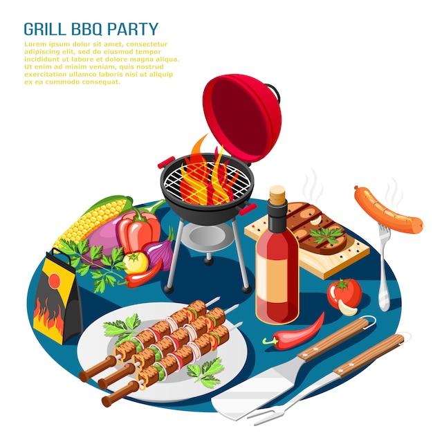 Grill bbq isometrische illustratiesamenstelling met bewerkbare tekstbeschrijving en tafelblad met barbecuevoedsel Gratis Vector
