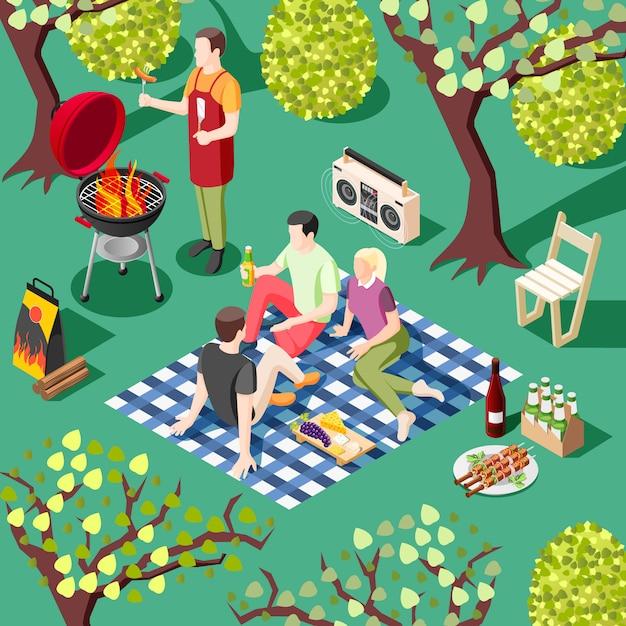 Grill bbq partij isometrische illustratie met groep jonge vrienden die rust hebben in het wilde landschap Gratis Vector