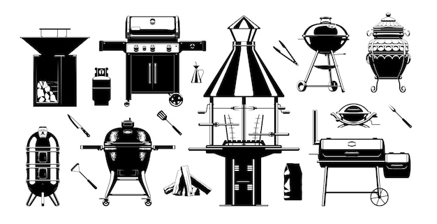 Grill bbq sihouette set. barbecue-grillgereedschap. houtskoolgrills, gasgrills en houtgestookte grills Premium Vector