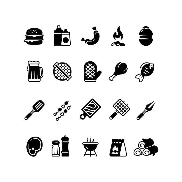 Grill buitenkeuken pictogrammen. familie bbq, zomer picknick symbolen. vlees en plantaardige geïsoleerde bbq Premium Vector