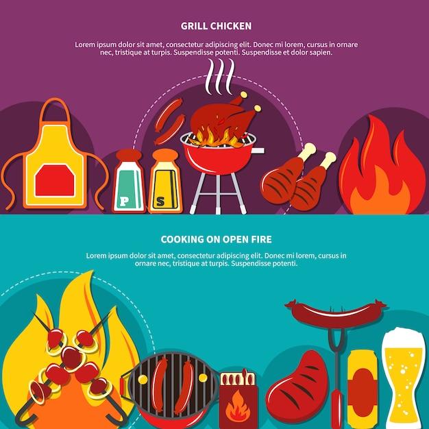 Grill chiken en koken op open vuur plat Gratis Vector