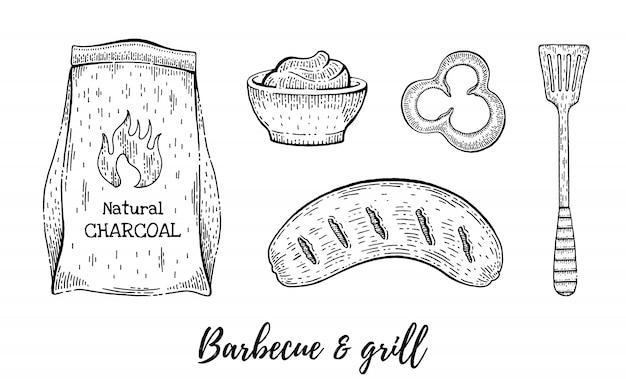 Grill en barbecue reataurant menu schets set. Premium Vector