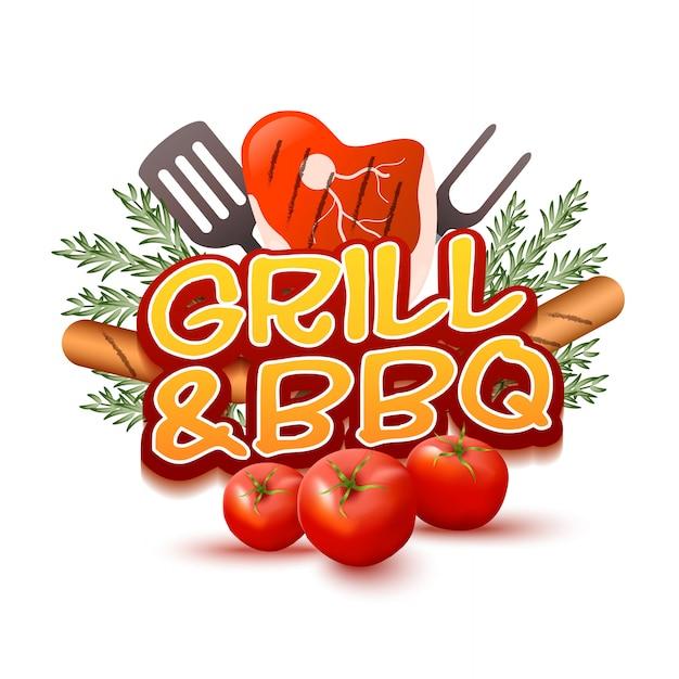 Grill en bbq-logo Premium Vector