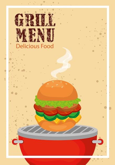 Grillmenu met heerlijke hamburger Gratis Vector