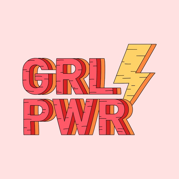 Grl pwr meisje macht badge vector Gratis Vector