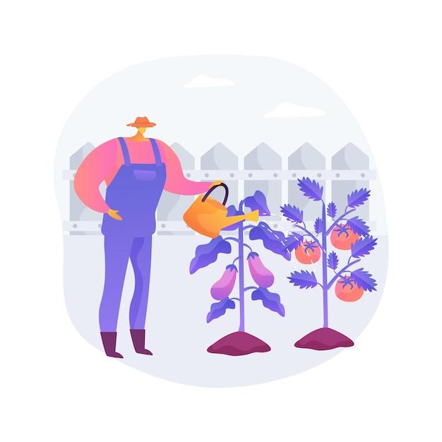 Groeiende groenten abstract concept vectorillustratie. huistuinieren voor beginners, planten in de grond, biologisch voedsel, saladezaden, containertuin, eet vers voedsel abstracte metafoor. Gratis Vector