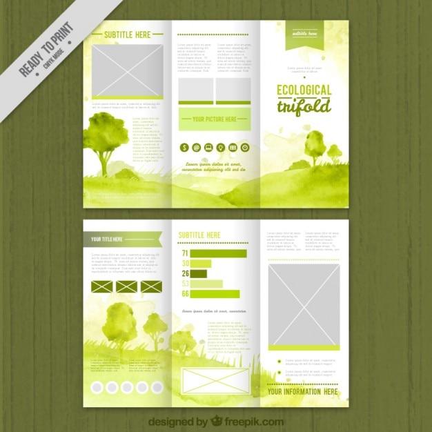 Groen aquarel ecologische trifold Gratis Vector