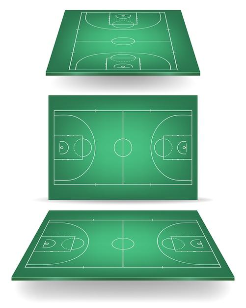 Groen basketbalveld met perspectief. Premium Vector