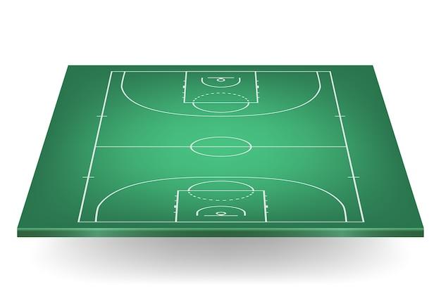 Groen basketbalveld. Premium Vector