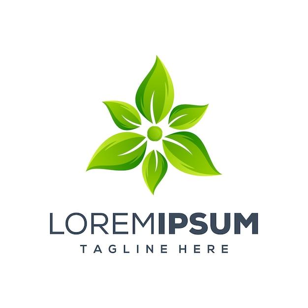 Groen blad logo ontwerp Premium Vector