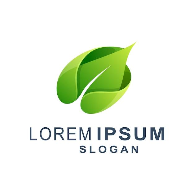 Groen blad modern logo Premium Vector