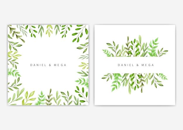 Groen bladeren en takkenkader voor huwelijksuitnodiging Premium Vector