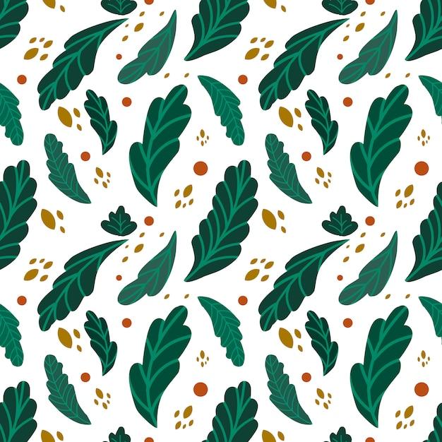 Groen bladeren naadloos patroon Premium Vector
