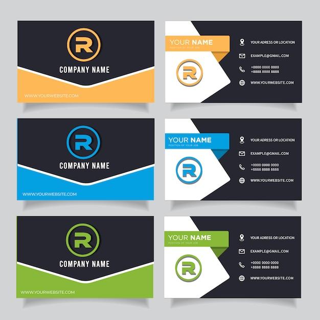 Groen, blauw, oranje en zwart donker modern creatief visitekaartje en naamkaartje Premium Vector