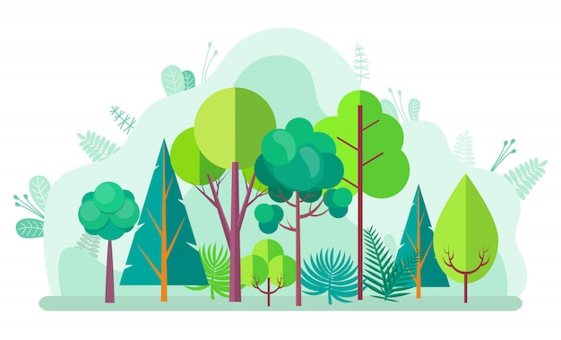 Groen bos met boom, struiken sparren en berken Premium Vector