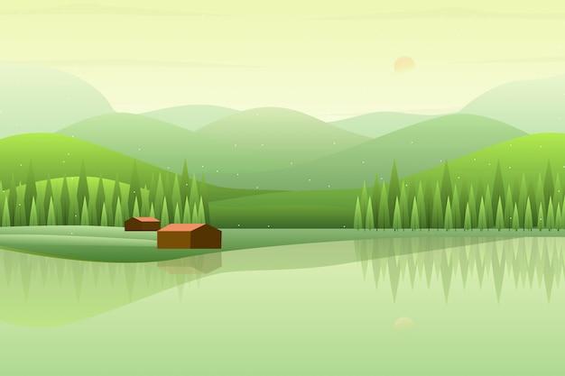 Groen boslandschap met berg en hemelillustratie Premium Vector