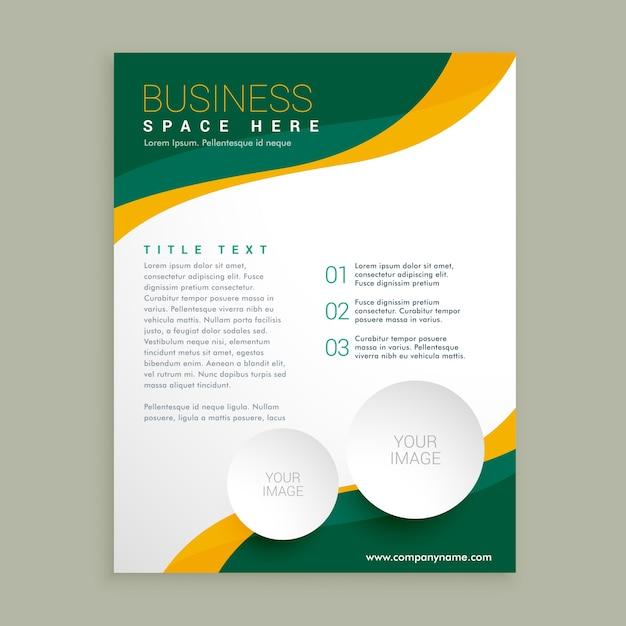 groen en geel zakelijke brochure flyer lay-out template golvende vorm Gratis Vector