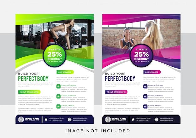 Groen en paars gradiënt verticale flyer sjabloonontwerp. abstracte achtergrond voor bodybuilding, fitness, sport, presentatie, reclame. ruimte voor foto. Premium Vector