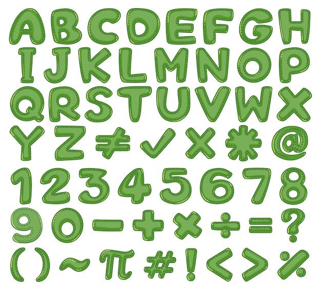 groen engels alfabet en nummer | vector | premium download