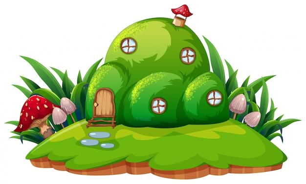 Groen fantasy cartoon huis Gratis Vector