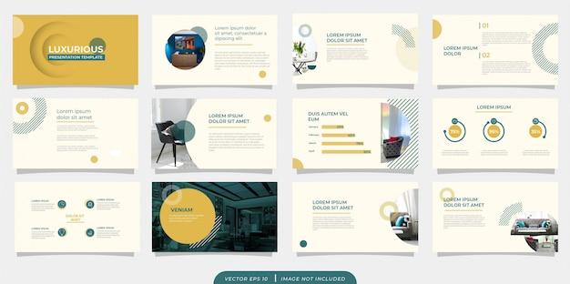 Groen geel minimalistische vintage presentatiesjabloon met pictogram Premium Vector
