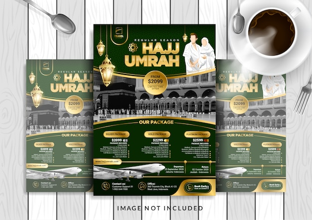 Groen goud luxe hajj & umrah folder sjabloon in a4-formaat. Premium Vector