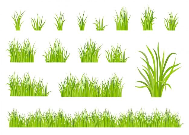 Groen gras patroon set Gratis Vector