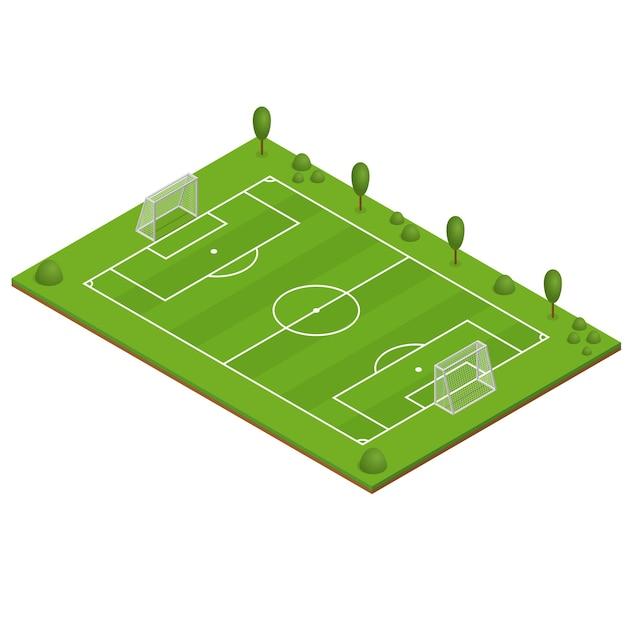 Groen gras voetbalveld. isometrische weergave. Premium Vector