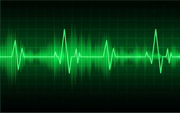Groen hart-pulsmonitor met signaal. hartslag. ekg-pictogramgolf Premium Vector