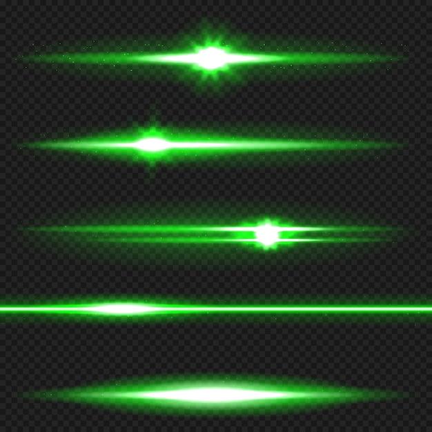Groen horizontaal flarespakket met lens. laserstralen, horizontale lichtstralen. Premium Vector