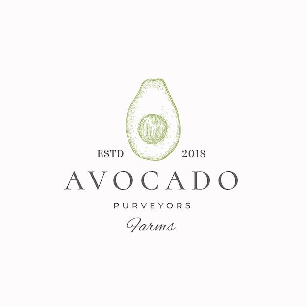 Groen label van avocado-leveranciers Premium Vector