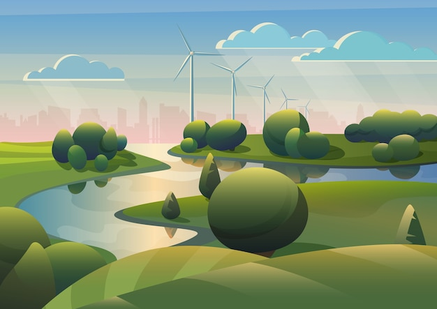 Groen landlandschap met rivier- en windmolens Premium Vector