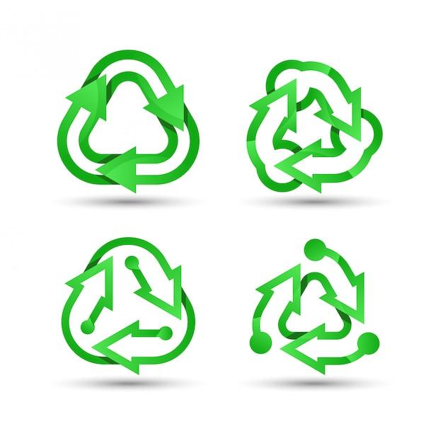 Groen recyclinglogo Premium Vector
