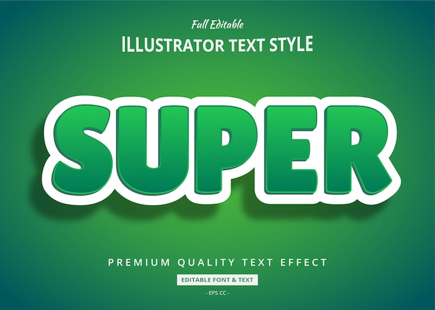 Groen schoon 3d-tekststijleffect Premium Vector