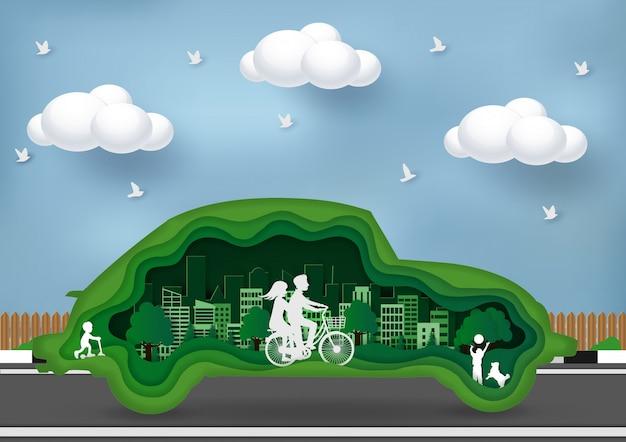 Groen stadsconcept milieuvriendelijk. kunst, ambacht en papier Premium Vector